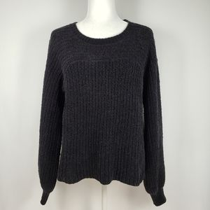 Free People Crew Neck Bell Sleeve Cotton Sweater